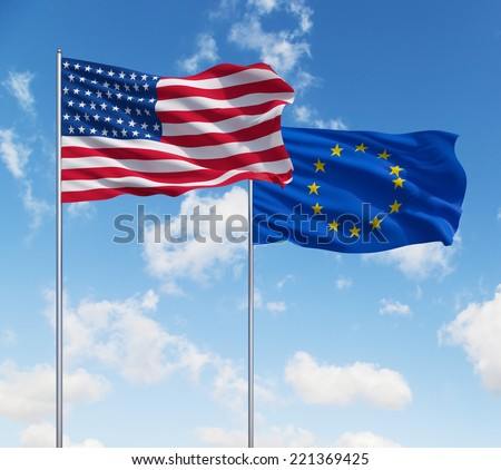 USA and European Union flags, Alliance. Blue sky background.