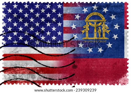 USA and Georgia State Flag - old postage stamp