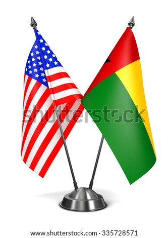 USA and Guinea-Bissau - Miniature Flags Isolated on White Background. - stock photo