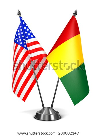 USA and Guinea - Miniature Flags Isolated on White Background. - stock photo