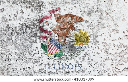 USA and Illinois State Flag painted on grunge metal - stock photo