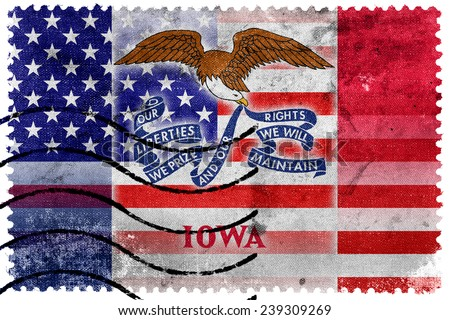 USA and Iowa State Flag - old postage stamp