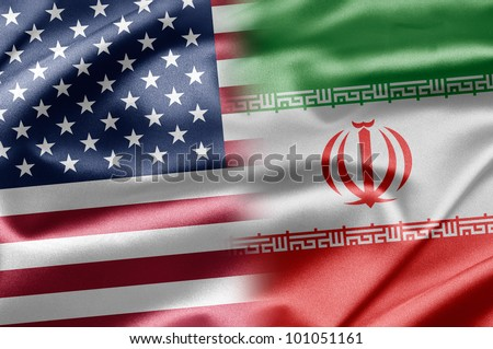 USA and Iran - stock photo