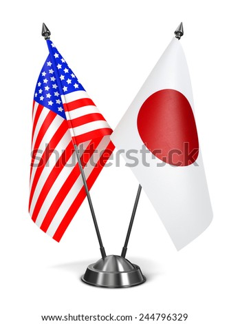 USA and Japan - Miniature Flags Isolated on White Background. - stock photo