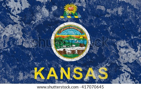 USA and Kansas State Flag painted on grunge wall - stock photo