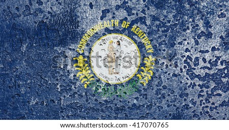 USA and Kentucky State Flag painted on grunge metal - stock photo