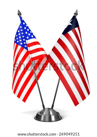 USA and Liberia - Miniature Flags Isolated on White Background. - stock photo