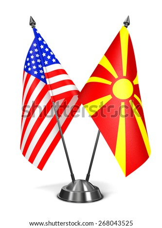 USA and Macedonia - Miniature Flags Isolated on White Background. - stock photo