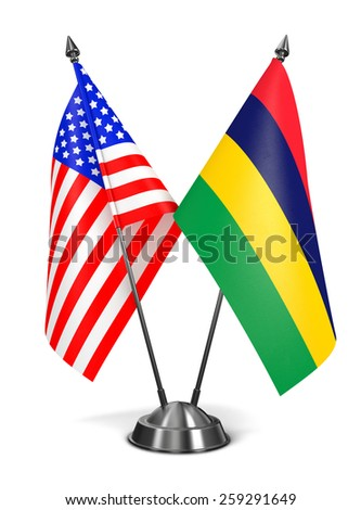 USA and Mauritius - Miniature Flags Isolated on White Background. - stock photo