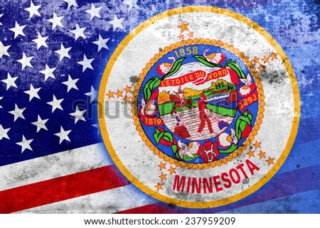 USA and Minnesota State Flag with a vintage and old look