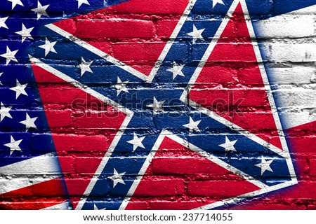 USA and Mississippi State Flag painted on brick wall - stock photo
