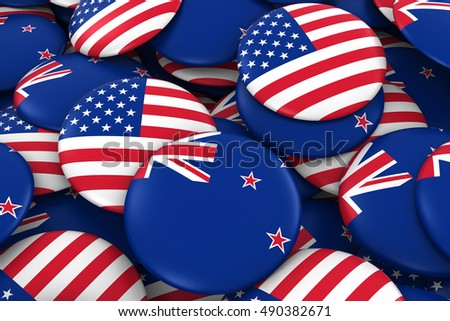 USA and New Zealand Badges Background - Pile of American and New Zealand Flag Buttons 3D Illustration