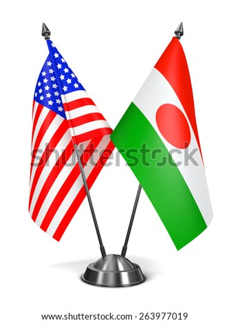 USA and Niger - Miniature Flags Isolated on White Background. - stock photo