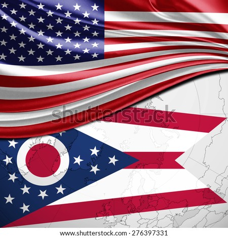 Usa And Ohio State Flag On World Map Background