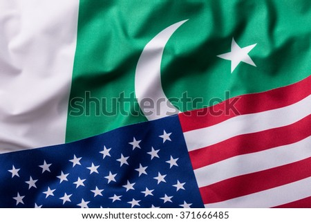 Usa and Pakistan. USA flag and pakistan flag. - stock photo