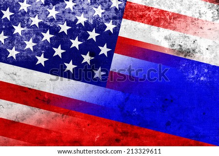 USA and Russia Flag with a vintage and old look - stock photo