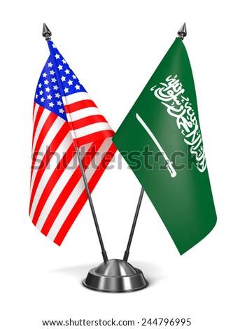 USA and Saudi Arabia - Miniature Flags Isolated on White Background. - stock photo