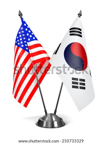 USA and South Korea - Miniature Flags Isolated on White Background. - stock photo