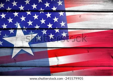 USA and Texas State Flag on wood background - stock photo