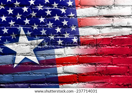 USA and Texas State Flag painted on brick wall
