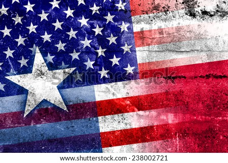USA and Texas State Flag painted on grunge wall - stock photo