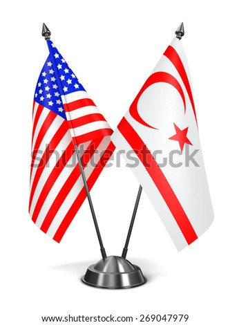USA and Turkish Republic Northern Cyprus - Miniature Flags Isolated on White Background. - stock photo