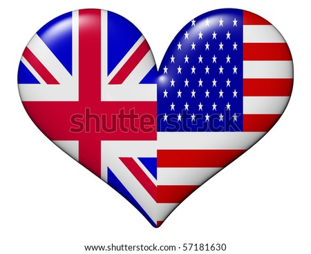 USA and UK heart - stock photo