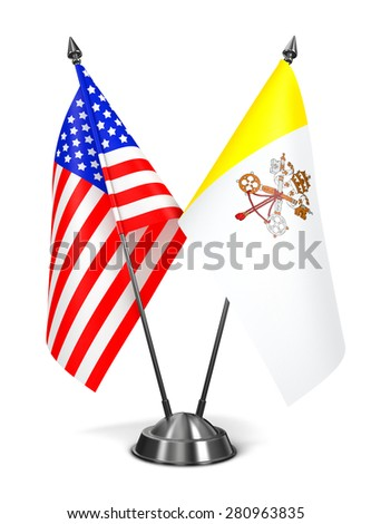 USA and Vatican City - Miniature Flags Isolated on White Background. - stock photo