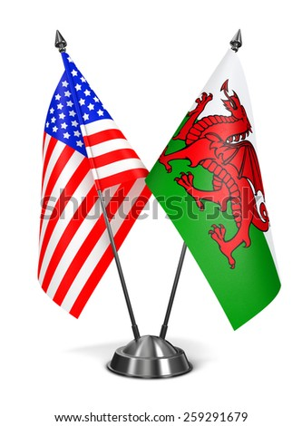 USA and Wales - Miniature Flags Isolated on White Background. - stock photo