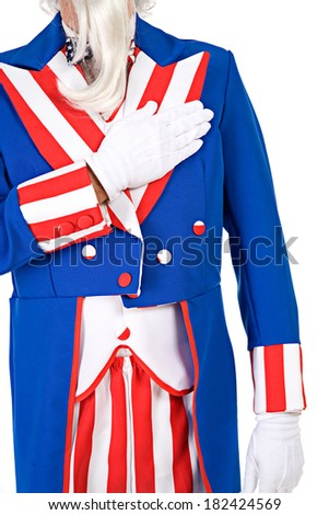 USA: Anonymous Uncle Sam Pledge Of Allegiance - stock photo