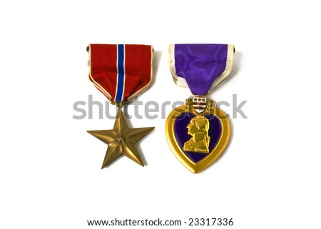 USA army medals for valor and wounds from active combat - stock photo