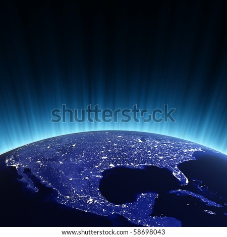 USA at night. Maps from NASA imagery - stock photo