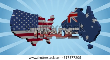 USA Australia map flags with trade text illustration - stock photo