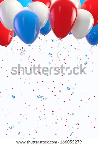 USA balloons and confetti celebration background. Clipping path included for easy selection. - stock photo