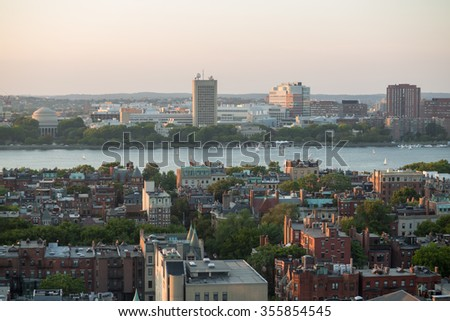 USA, BOSTON -?? 06 SEP, 2014: Cityscape with river and many buildings at autumn day.