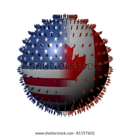 USA Canada flag sphere surrounded by people illustration - stock photo