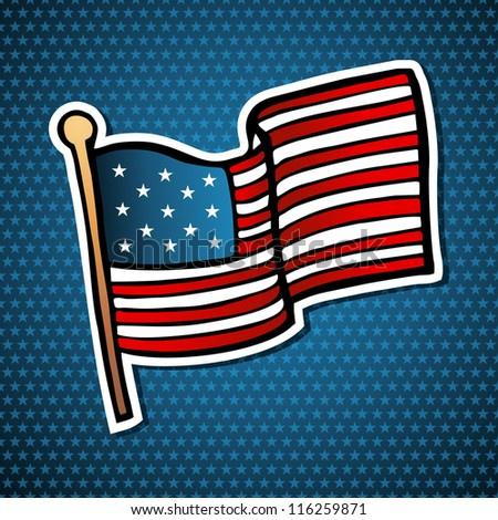 USA cartoon flag icon hand drawn style over blue stars background. - stock photo