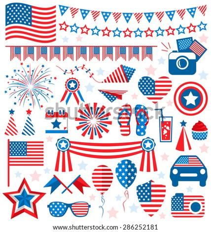 USA celebration flat national symbols set for independence day isolated on white background - stock photo