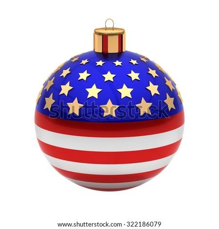 USA Christmas ball isolated on white - stock photo