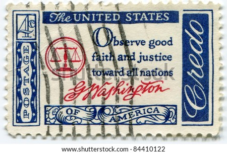 USA - CIRCA 1960 : A  4 c value stamp printed in the USA with text: Observe good faith and justice toward all nations, G.Washington - Credo series, circa 1960
