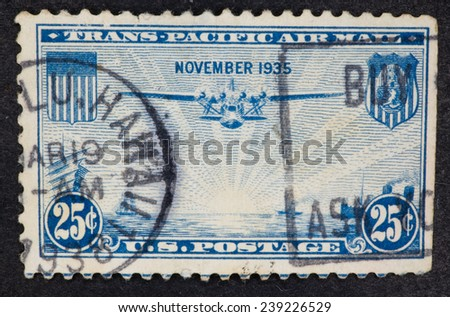USA - Circa 1935:A Cancelled postage stamp from the USA illustrating Trans Pacific Airmail, issued in 1935. - stock photo