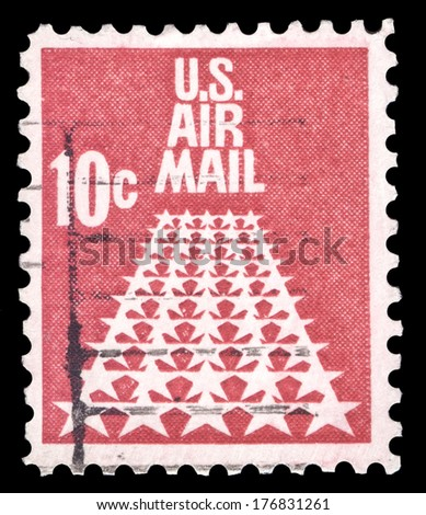USA-CIRCA 1968: A 10 cent United States Airmail postage stamp shows image of white stars on a red background, stamp is known as the runway, circa 1968. - stock photo