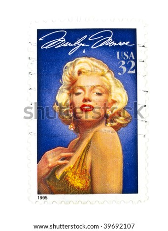 USA - CIRCA 1995: A 32 cents stamps printed in USA showing a Marilyn Monroe portrait, circa 1995 - stock photo