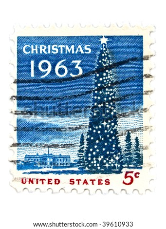 USA - CIRCA 1963: A 5 cents stamps printed in USA showing christmas tree at the White House, circa 1963
