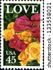 USA - CIRCA 1988: A Greetings stamp printed in United States of America shows Roses. Love , circa 1988 - stock photo