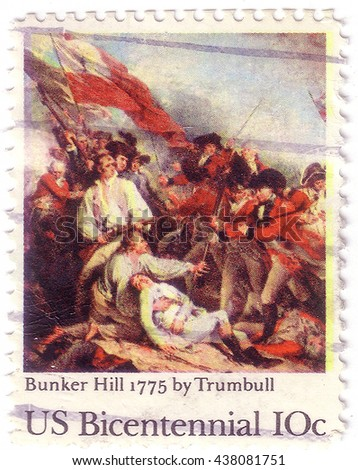 USA - CIRCA 1975: A postage stamp printed in the USA, dedicated to the 200th anniversary of the Battle of Bunker Hill, shows Battle of Bunker Hill, by John Trumbull, circa 1975 - stock photo