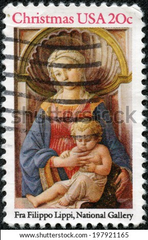 "USA - CIRCA 1984: A postage stamp printed in USA, Christmas Issue, shows a picture of the National Gallery, ""Madonna and Child"" by Fra Filippo Lippi, circa 1984 - stock photo"