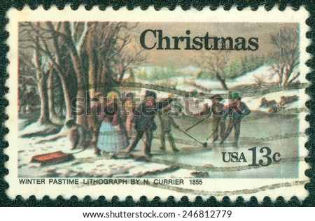 "USA - CIRCA 1976: A postage stamp printed in USA, Christmas Issue, shows picture ""Winter Pastime"" by Nathaniel Currier, circa 1976 - stock photo"