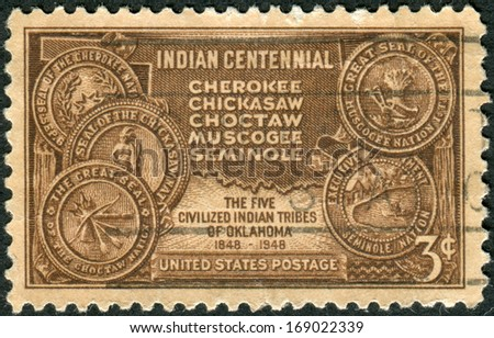 USA - CIRCA 1948: A postage stamp printed in USA, devoted to the Centenary of the arrival in Indian Territory, Oklahoma, of the Five Civilized Indian Tribes, shows Map of Indian Territory, circa 1948 - stock photo