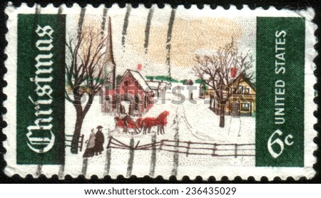 USA - CIRCA 1969: A postage stamp printed in USA (overprint ATLANTA, GA), Christmas Issue, shows Winter Sunday in Norway, Maine, circa 1969 - stock photo